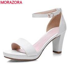 MORAZORA grande taille 34-43 2020 mode épais talons hauts bout ouvert femme sandales haute qualité en cuir pu noir rouge chaussures femme