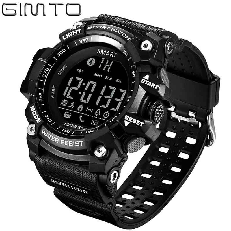 Reloj deportivo para hombre, podómetro digital, reloj Bluetooth GIMTO, podómetro inteligente, reloj Led Calorie, reloj impermeable