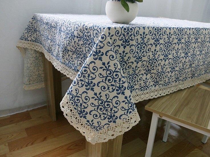 Envío Gratis tela de lino de algodón mantel de mesa azul cerámica Vintage Rectangular mantel de encaje borde cena mantel B132