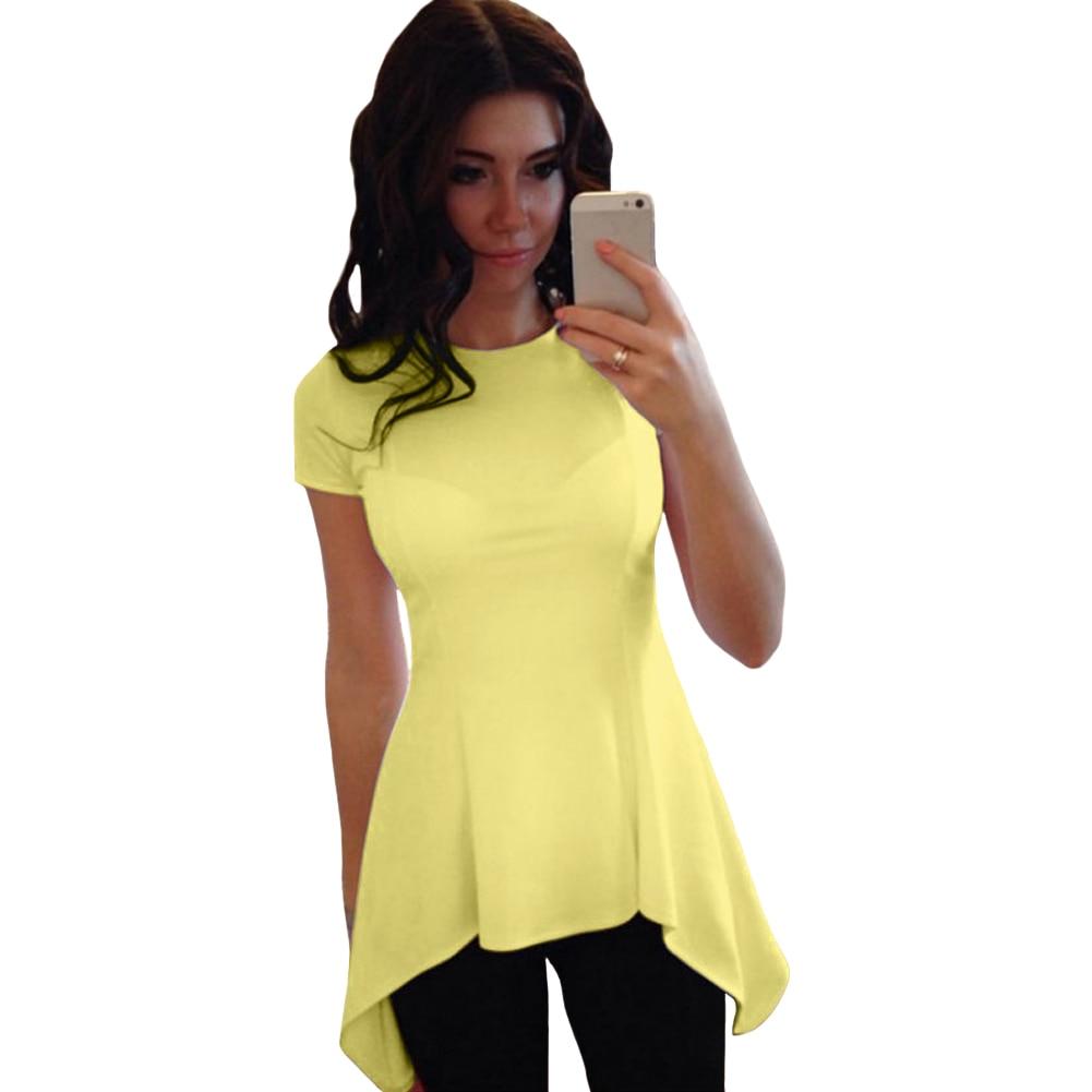 ¡Novedad de 2019! Camiseta Sexy de talla grande XXXL para mujer, Camiseta entallada de manga corta con dobladillo de Peplum y cuello redondo, camiseta informal para verano, túnicas de mujer, camiseta