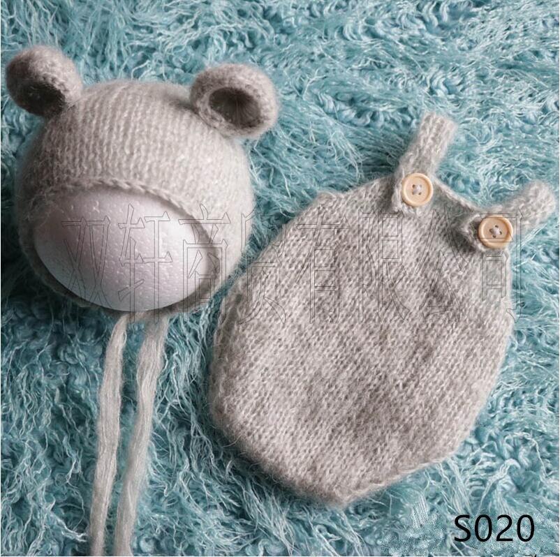 Hecho a mano mohair oso de peluche sombrero + Pantalones cortos accesorios de fotografía recién nacido