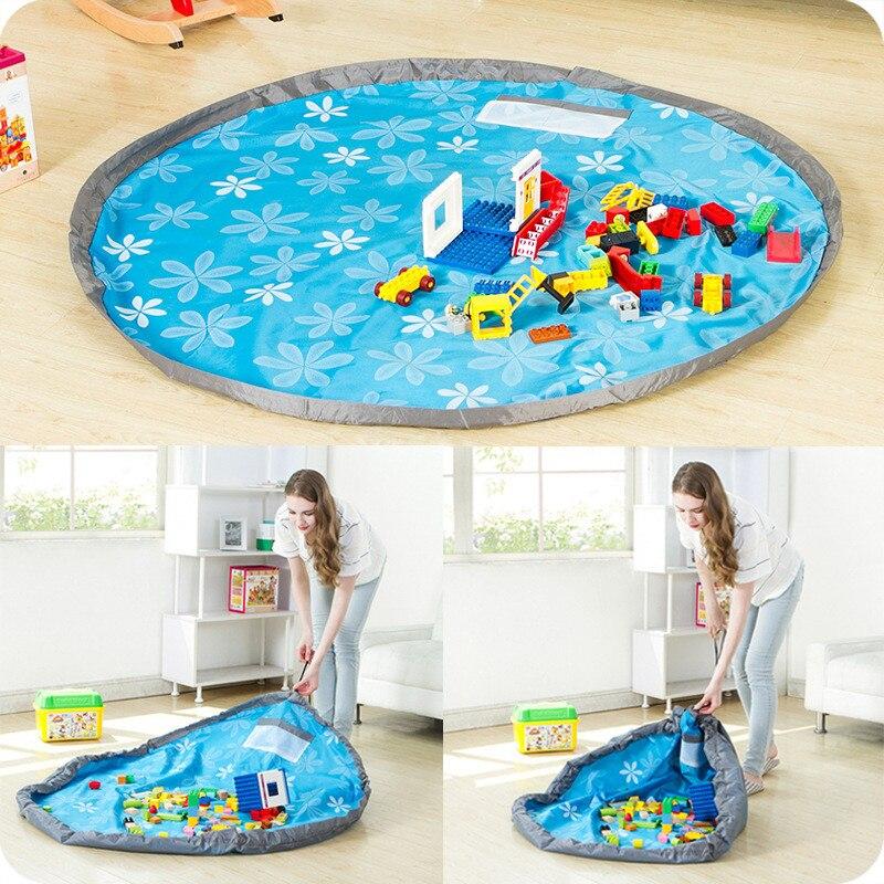 Bolsa de almacenamiento de juguetes para niños redonda de 150cm, esterilla de juego portátil, manta de almacenamiento de Lego para juguetes, manta para jugar al bebé, esterilla de Picnic de viaje