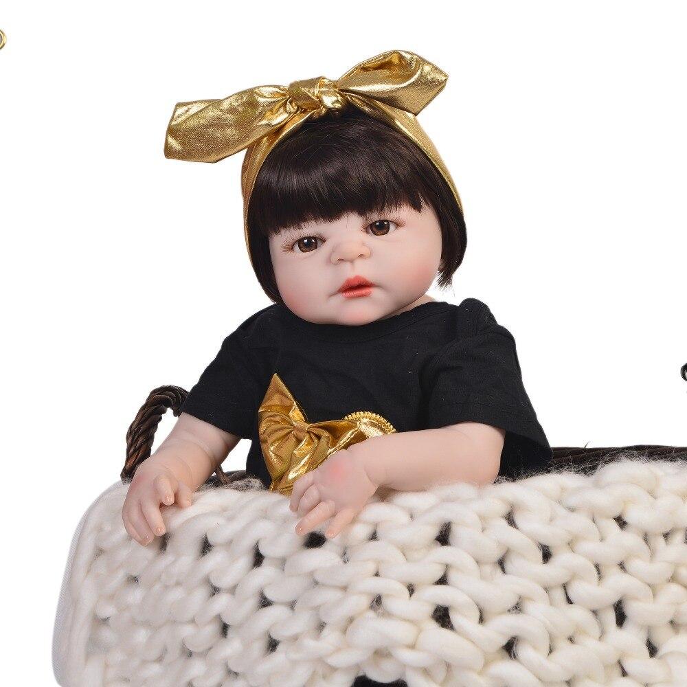 "Bebe Doll reborn silicone baby dolls toys 22""55cm newborn girl toddler doll bebe gift rebon boneca menina can bathe lalki reborn"