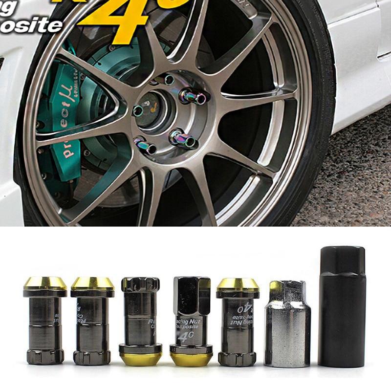 20PCS Racing Composite R40 Neo Titanium Chrome Steel Lock Anti Theft Wheel Lug Nuts M12x1.5/1.25 Ultra-lightweight Car Hub Parts