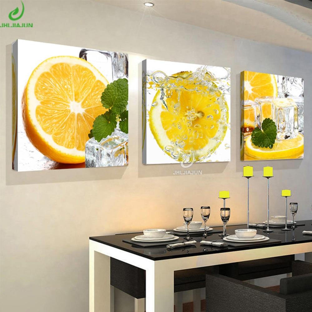 Pinturas de tríptico limón para la cocina Cuadros modulares pinturas al óleo carteles Cuadros de pared para sala de estar Cuadros Decoracion