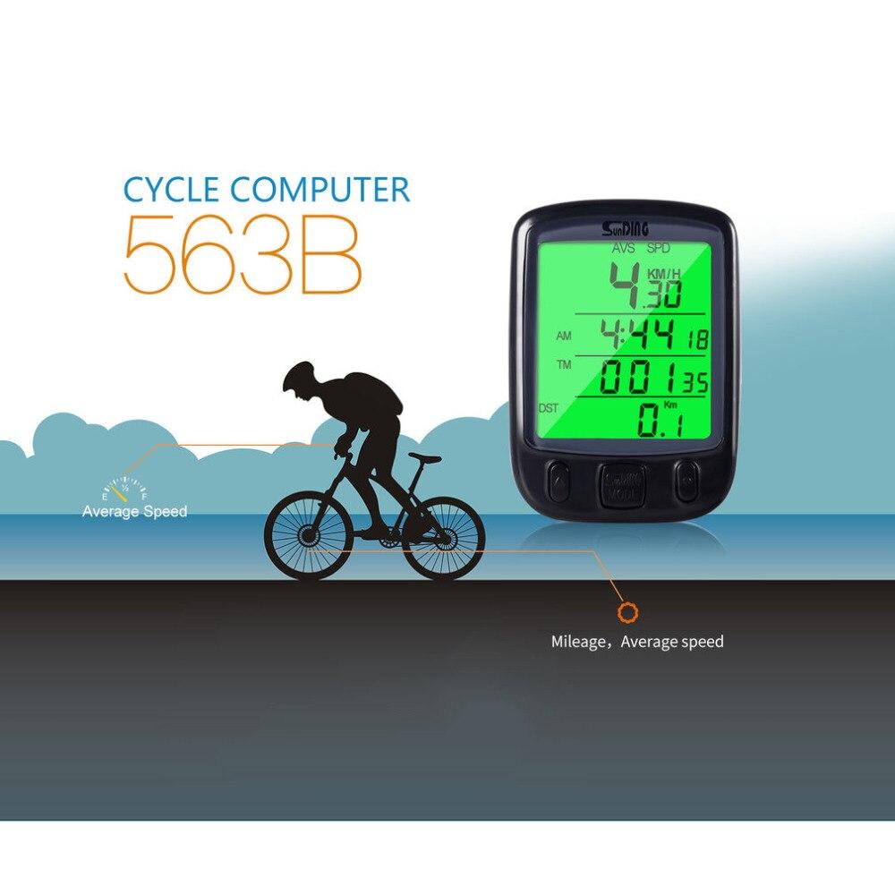 Горячая продажа 563B Sunding SD Велоспорт LCD водонепроницаемый кабель монитор Велосипедный компьютер Спидометр велосипедный одометр с зеленым светом