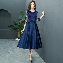 2019 new medium long section banquet dress slim lace half sleeve dress Navy blue evening dress Improved qipao Size S-3XL