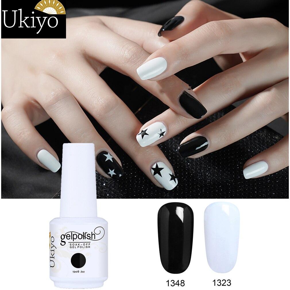 Ukiyo 15ML Gel barniz negro blanco rojo Color uña Gel polaco Soak Off esmalte de uñas en Gel Semi permanente uñas barniz