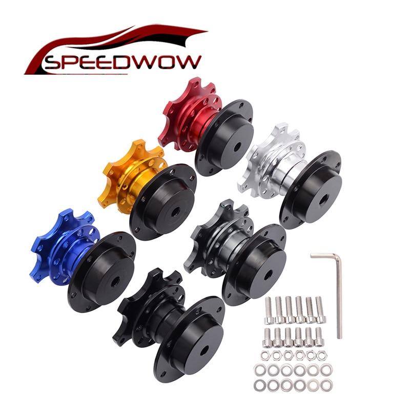 SPEEDWOW Universal Steering Wheel Quick Release Hub Boss Kit Wheel Hub Adapter For 6 hole Steering Wheel Hub