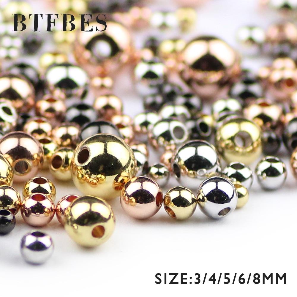 BTFBES-petites perles espacées, 3 4 5 6 8mm, pour la fabrication de bracelets et bijoux bricolage 30 à 200 pièces, belles perles en 3 4 5 6 8mm