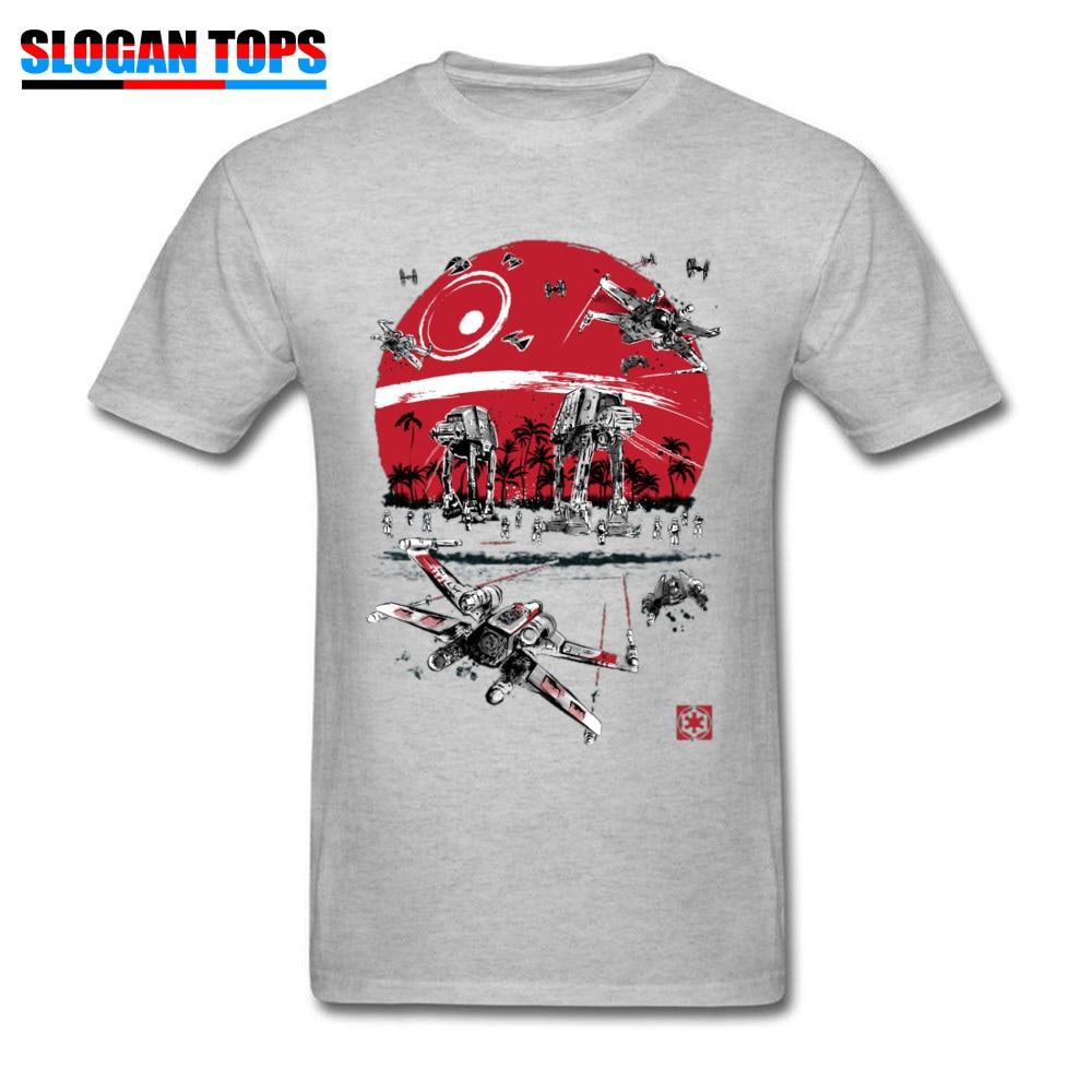 2019 camiseta de Star Wars, Camiseta de algodón gris para hombres, camisetas de batalla en la playa At-At AtAt Imperio Galáctico, camisetas Rebel Boba Fett