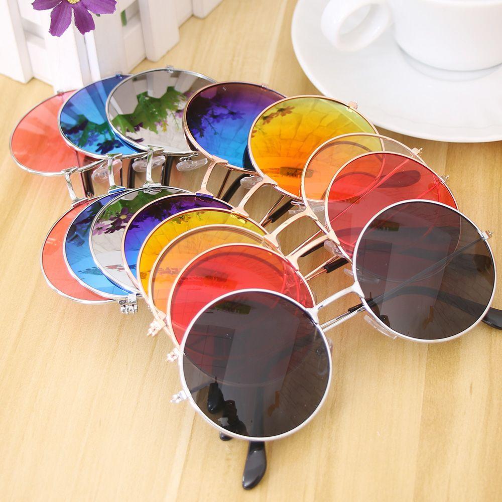 Пластиковые круглые солнцезащитные очки Цветные готические солнцезащитные очки в стиле стимпанк женские зеркальные Круглые Солнцезащитн...