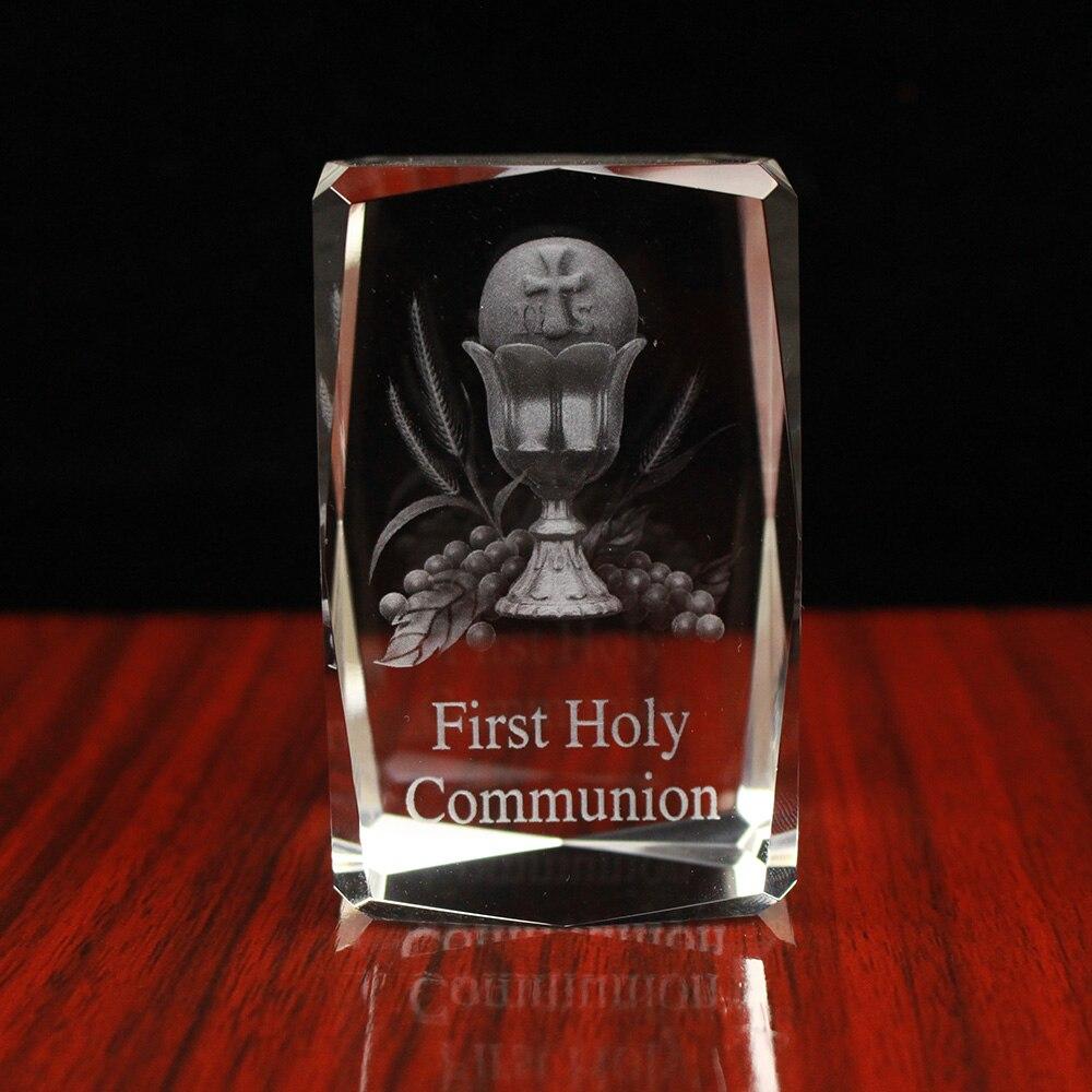 Primeira Comunhão Santo Graal Da Foto Cubo de Cristal 3D Religiosas Cristãs Presentes Do Favor