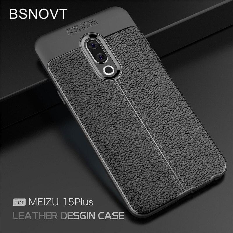 For Meizu 15 Plus Case Shockproof Luxury Leather Soft TPU Anti-knock Bumper Case For Meizu 15 Plus C