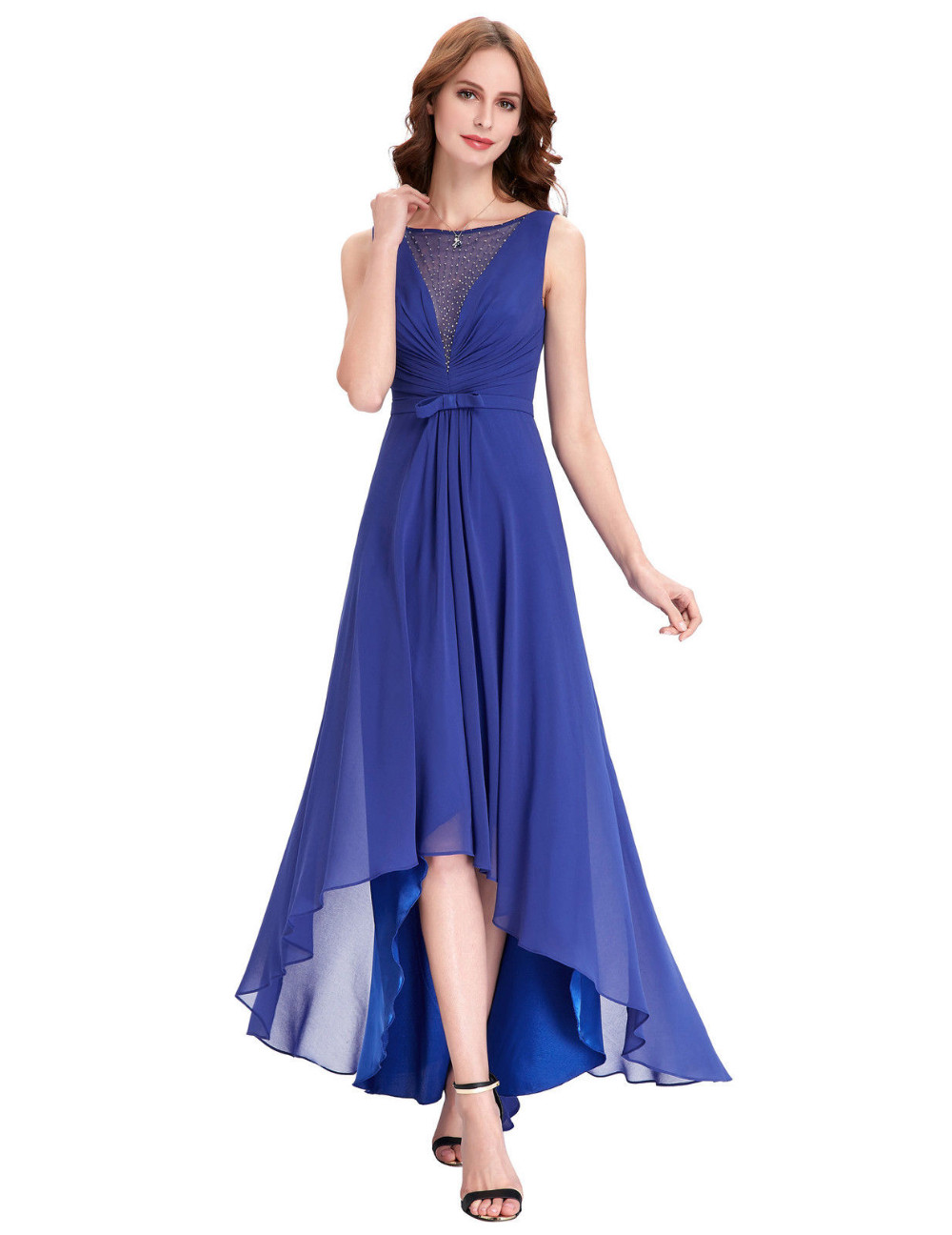 High low royal blue chiffon short front long back for High low wedding guest dresses