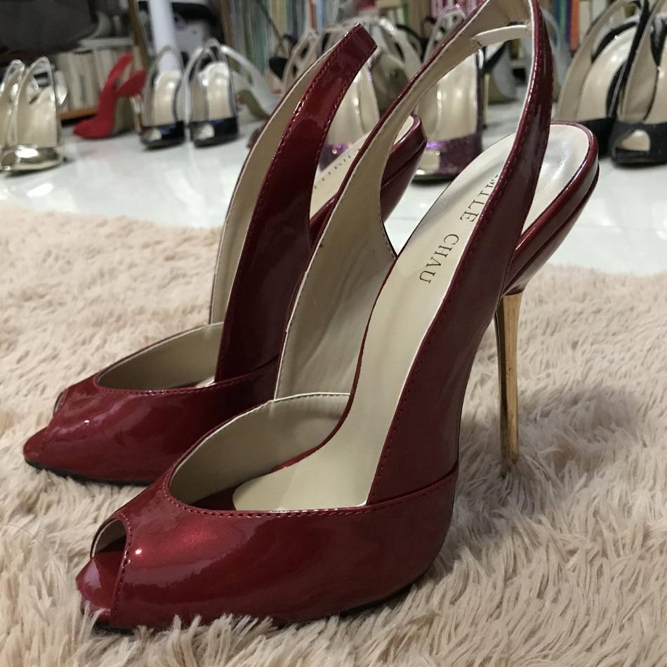 Women Stiletto Thin Iron High Heel Sandals Sexy Sling Back Peep Toe Burgundy Patent Party Bridal Ball Lady Shoe 3845-g6