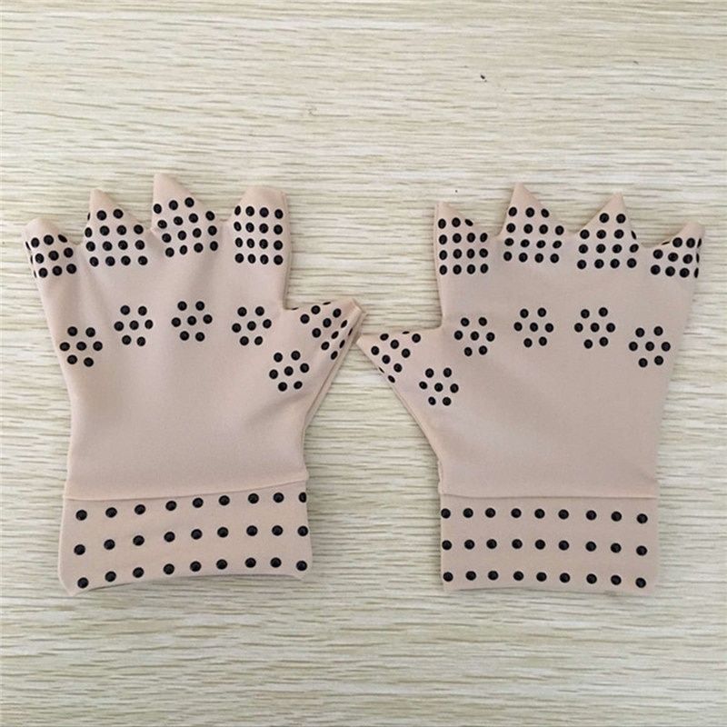 1 Pair Magnetic Therapy Gloves Arthritis Pain Relief Heal Joints Free Size for Man Woman Fingerless Body Treatment