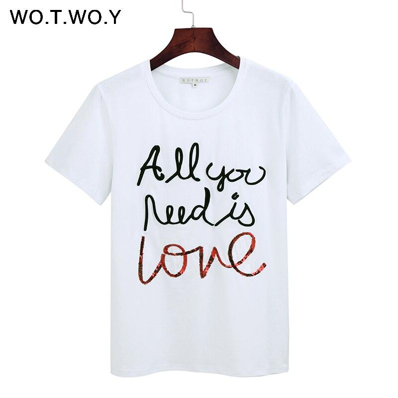 Женская футболка с блестками WOTWOY, Черная/белая хлопковая футболка с надписью и вышивкой, 2020
