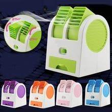 Mini Kleine Ventilator Koeling Draagbare Desktop Dual Bladeless Airconditioner Usb Drop Schip De1