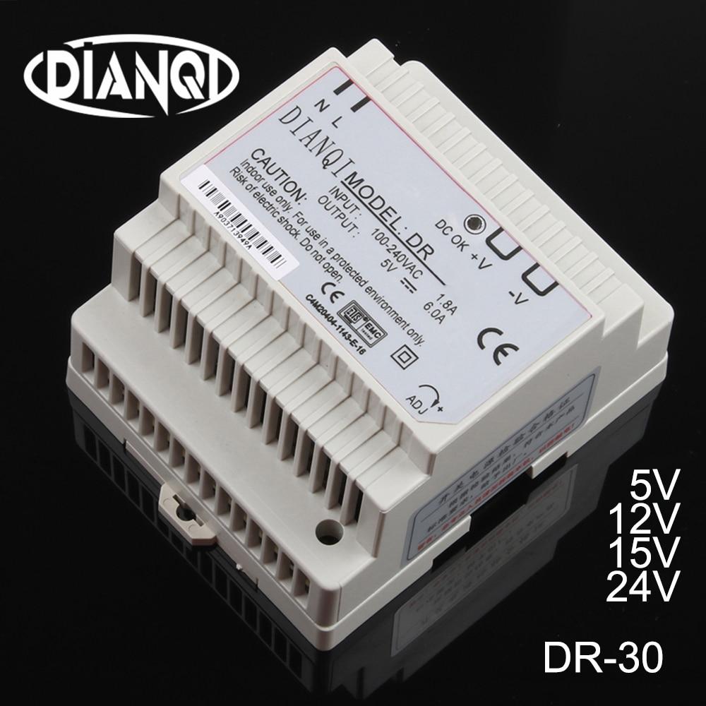 Dianqi din trilho fonte de alimentação DR-30w 5 v 12 v 15 24 v interruptor alimentação suply ac dc conversor DR-30-5V DR-30-12V DR-30-24V boa qualidade
