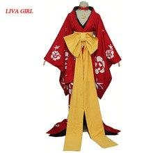 2019 XXXHolic Ichihara Yuuko rouge Rose Furisode longue piste japonais anime uniforme filles Kimono Cosplay Costume