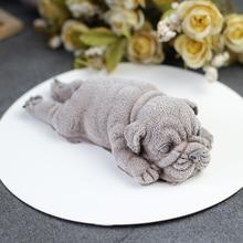 Lindo perro de silicona molde para mousse pastel 3D Shar Pei molde para helado gelatina pudín explosión escalofriante herramienta Fondant Decoración