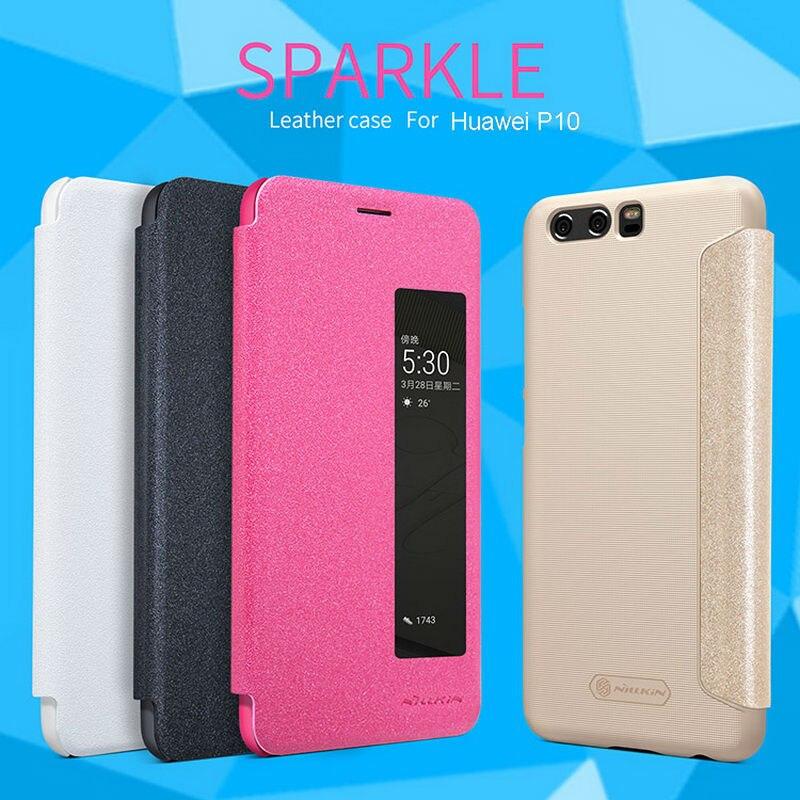 Para Huawei P10 Huawei P10 Plus Funda de cuero Flip Smart responder ventana Vista PU Funda de cuero NILLKIN Sparkle Phone bag Back Cover