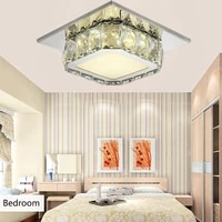 square 12w led ceiling light crystal stainless steel modern ceiling lamp bedroom lamp for home porch corridor kitchen lighting