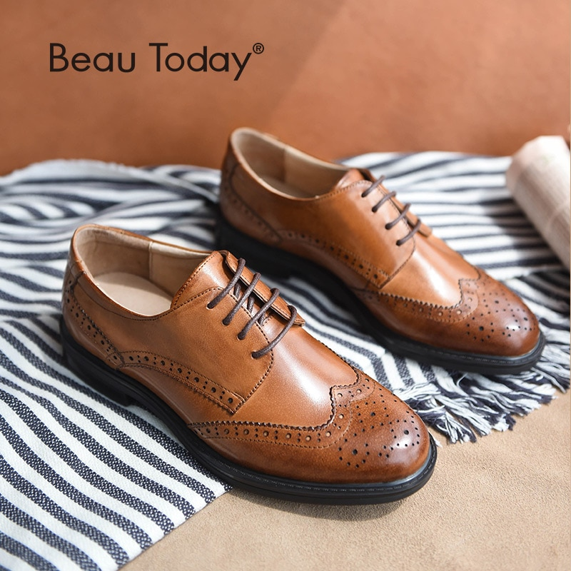 BeauToday Genuine Cow Leather Brogue Shoes Handmade Lace-Up Wingtip Round Toe Waxing Calfskin Top Qu