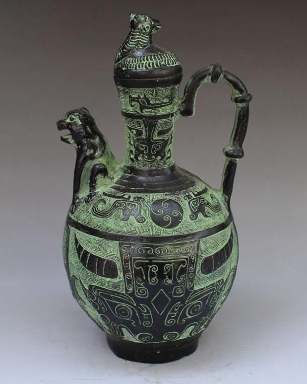 Collectlble Chinese Bronze Handwork Beast Flagon