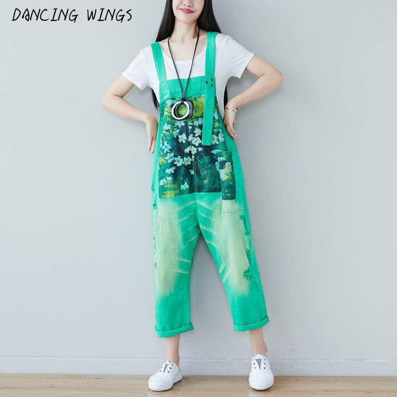 Monos de tela vaquera estampada con flores para mujer, pantalones tipo babero de talla grande con tirantes informales, Pantalones rectos holgados con agujeros a la moda