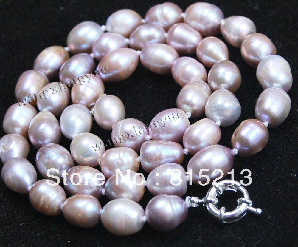 Ddh00563 Genuino Natural 10-11 MM Arroz Lavanda akoya collar de perlas cultivadas 28% Descuento (A0513)