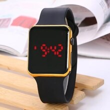 Hot-selling new electroplated fashionable Apple watch Square LED electronic watch Silicone student W