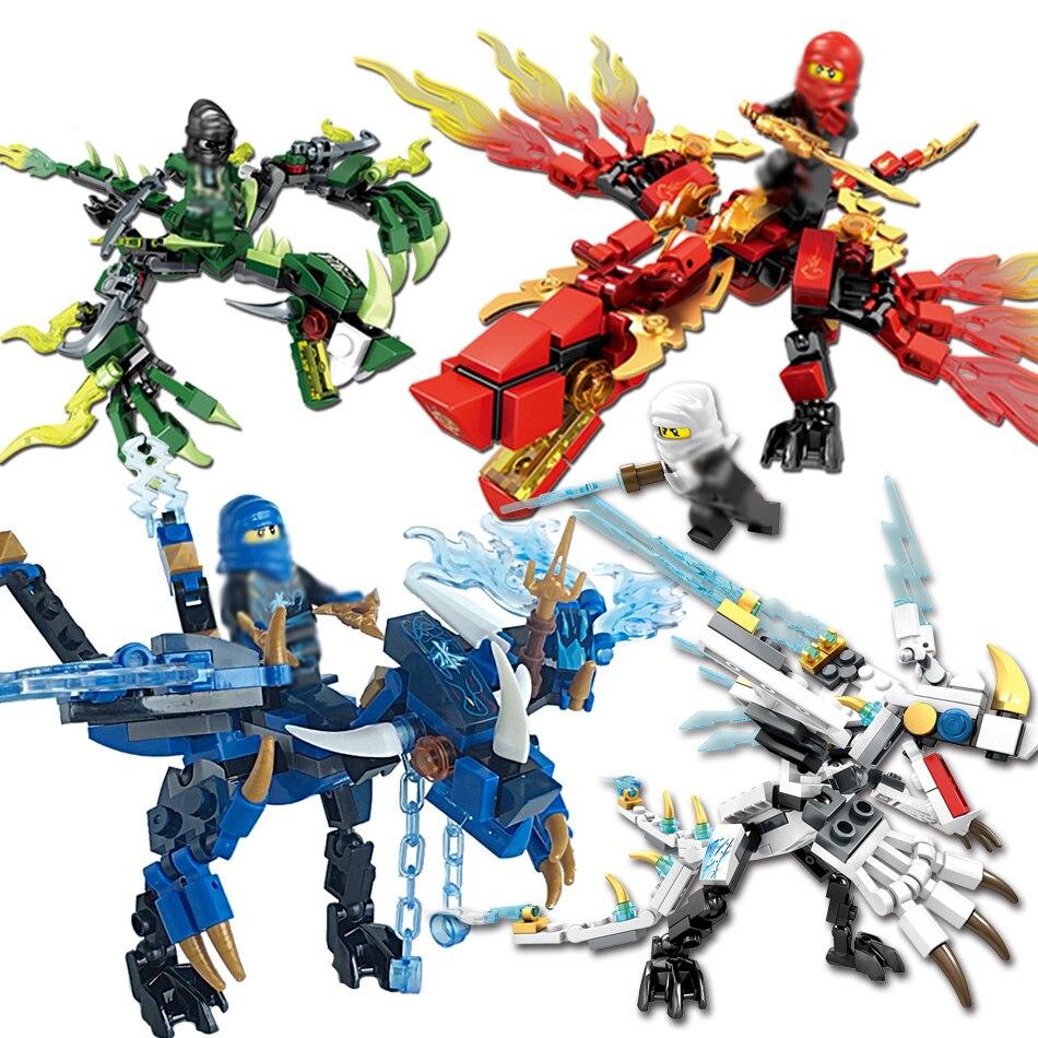 Bloques de construcción de dragón de Ninjagoes KAI JAY COLE, ZANE Lloyd WU NYA GARMADON, Ninjas de juguete compatibles con NinjagoING