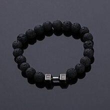 Bracelet 2016 unisexe pierres naturelles haltère en direct avec perles de lave Bracelet Fitness