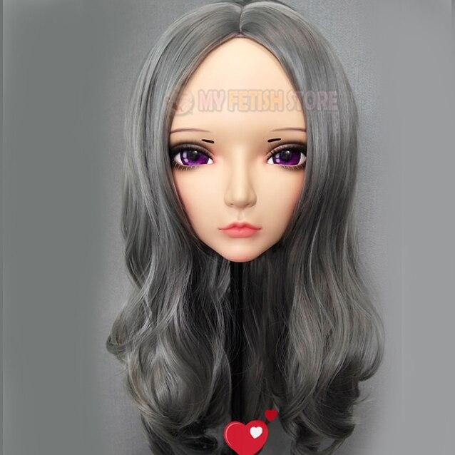 (CHUN-3) vestido cruzado de resina de media cabeza Kigurumi BJD Eyes Cosplay Anime japonés máscara de Lolita con ojos y peluca