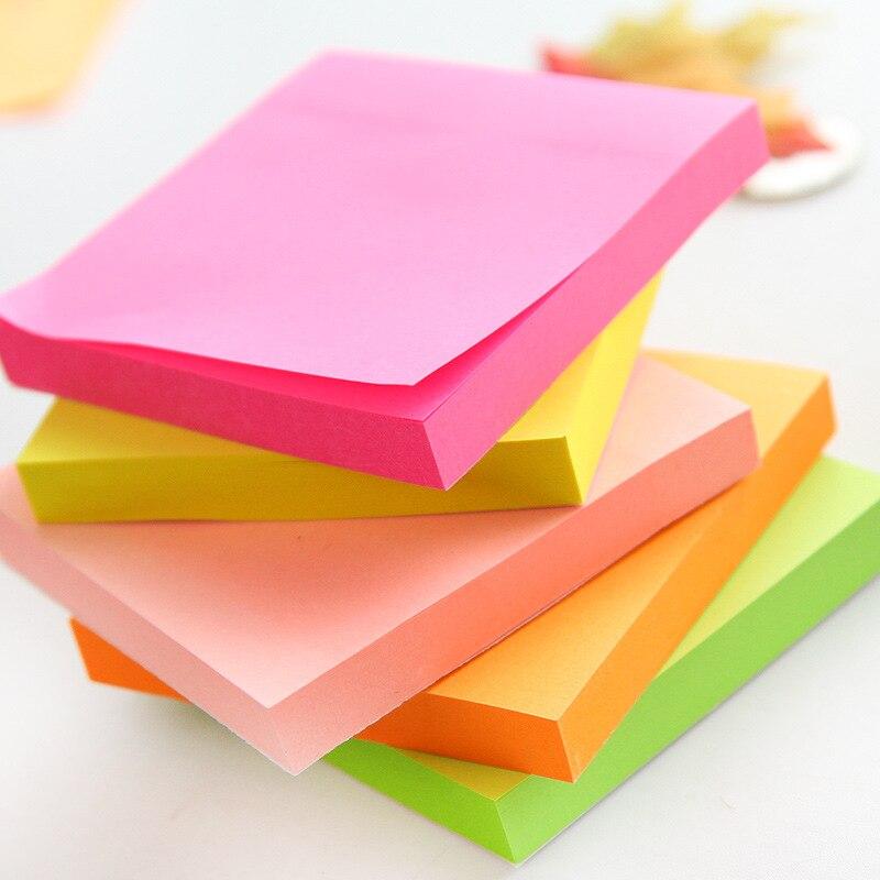 5 teile/los 100 blätter Fluoreszierende farbe haftnotizen für marker klassifizierung Macaron notizblock post schulbedarf A6971
