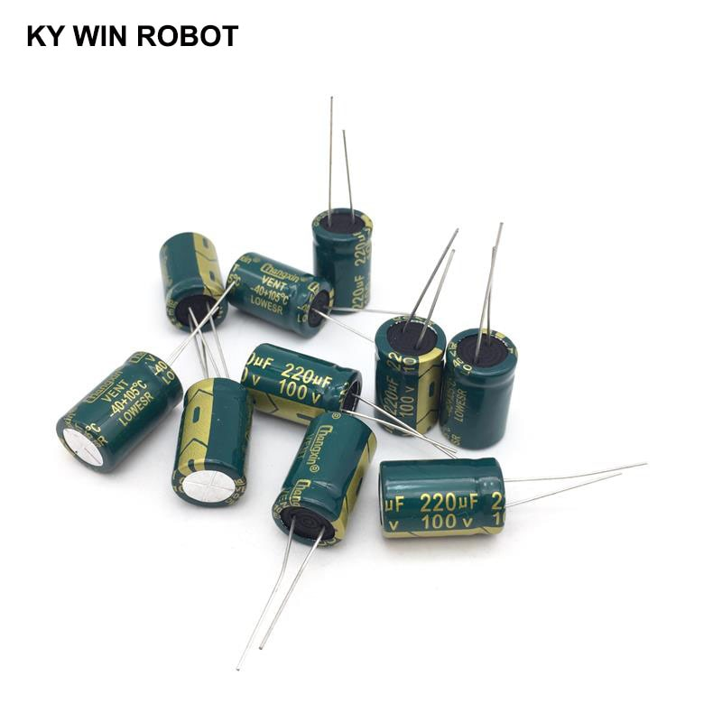 10 pcs Aluminum electrolytic capacitor 220 uF 100 V 13 * 20 mm frekuensi tinggi Radial Electrolytic kapasitor конденсатор duelund vsf 100 v 4 7 uf aluminium