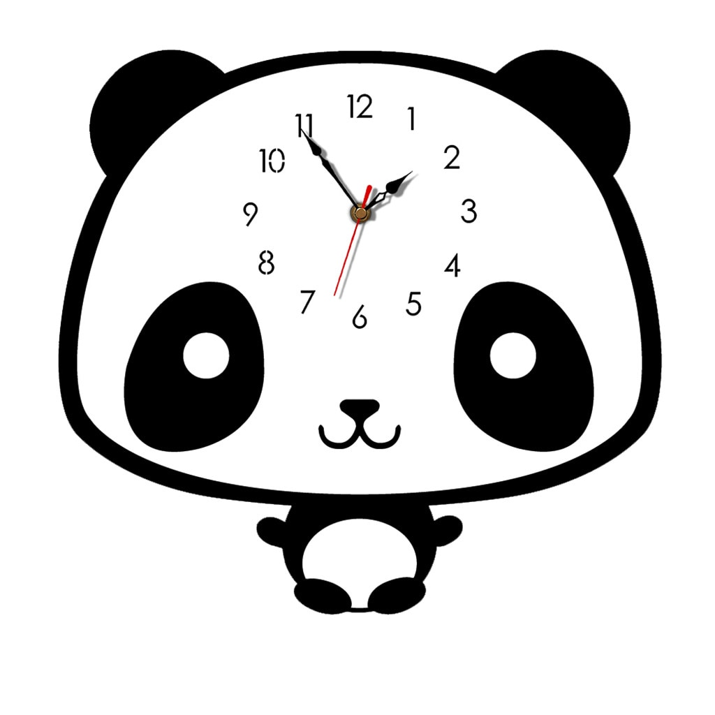Reloj de pared de estilo nórdico Panda silencioso de madera para el hogar sala de estar Reloj de pared decorativo silencioso en decoración de pared 19JUL10