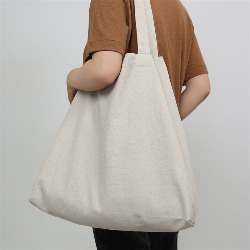 Large ECO Fashion Durable Women Student Cotton Linen Single Shoulder Bag Shopping Tote Flax Canvas Shopping Bags