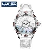 loreo luxury automatic mechanical silver white watch women waterproof ladies wrist watches top brand leather clock relogio