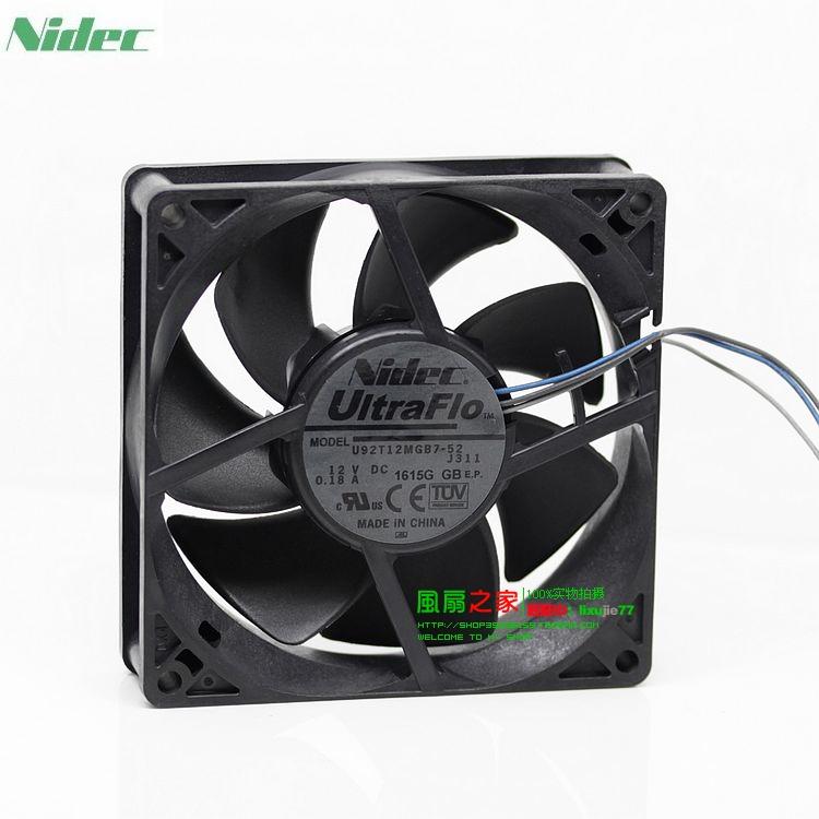 For Nidec U92T12MGB7-52 12V 0.18A 9cm 90mm fans 9025 NBR miniature bearings wind capacity