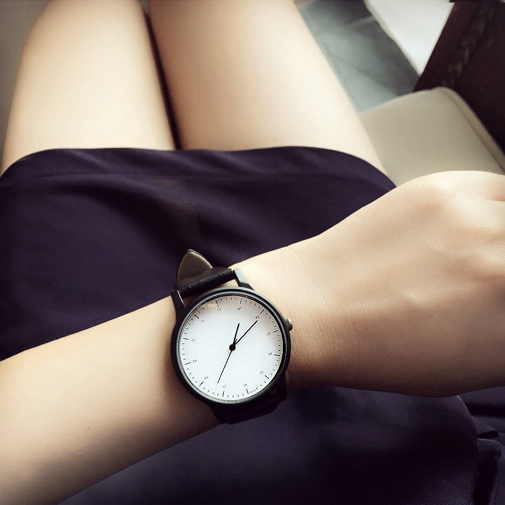 2019 enmex bonito senhora elegante relógio de pulso breve vogue simples elegante com preto e branco rosto banda de aço quartzo moda relógio
