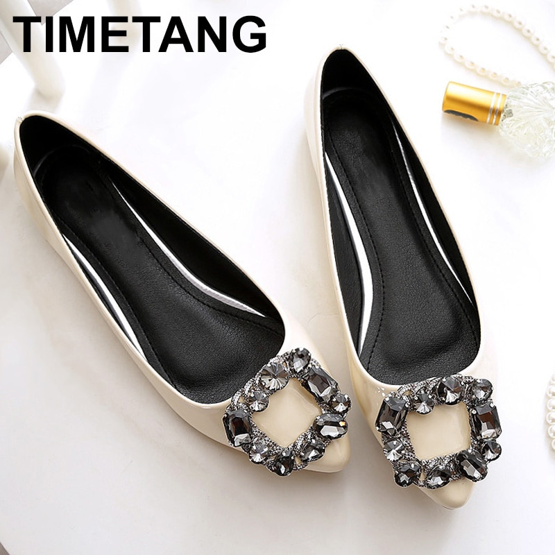 Zapatos planos TIMETANG de piel sintética para mujer, nuevos zapatos a la moda con punta en punta de diamante de cristal de talla grande 33-45, zapatos informales de tacón plano C123