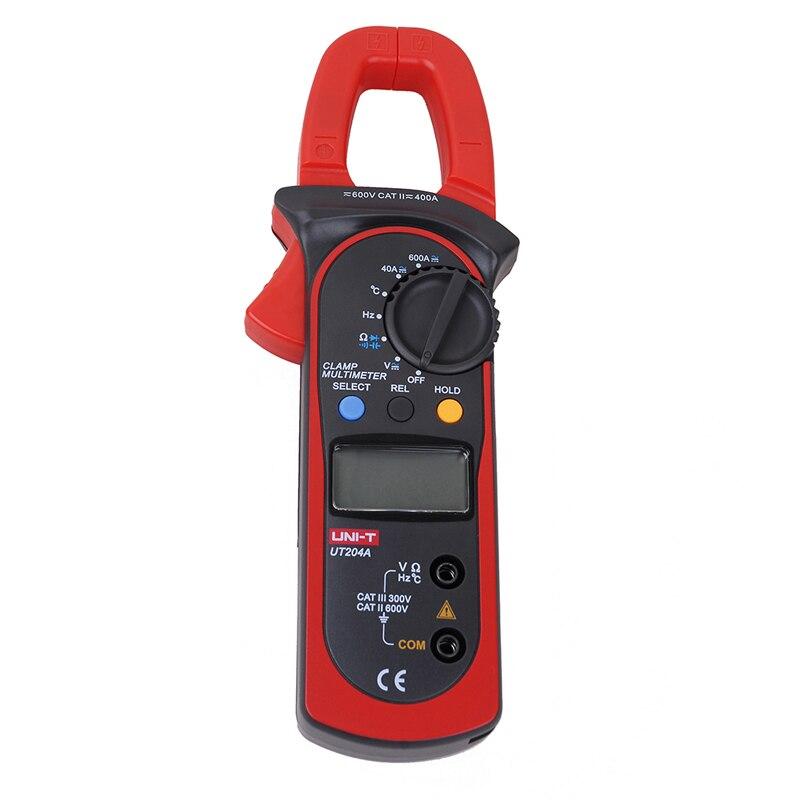 UNI-T de corriente de voltaje UT204A DC/AC medidor de pinza Digital con resistencia, capacitancia, frecuencia y medición de temperatura