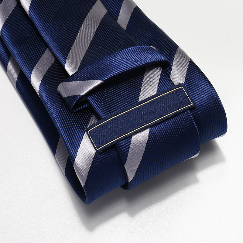 Top Quality Blue White Striped Ties for Men Business Formal 8cm Suit Necktie Wedding Party Mens Ties Corbatas with Tie Gift Box