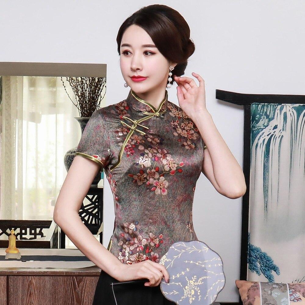 SEXY dama verano rayón blusa chino estampado Vintage Floral delgado camisa novedad fiesta Prom Top M L XL 2XL 3XL 4XL 90505