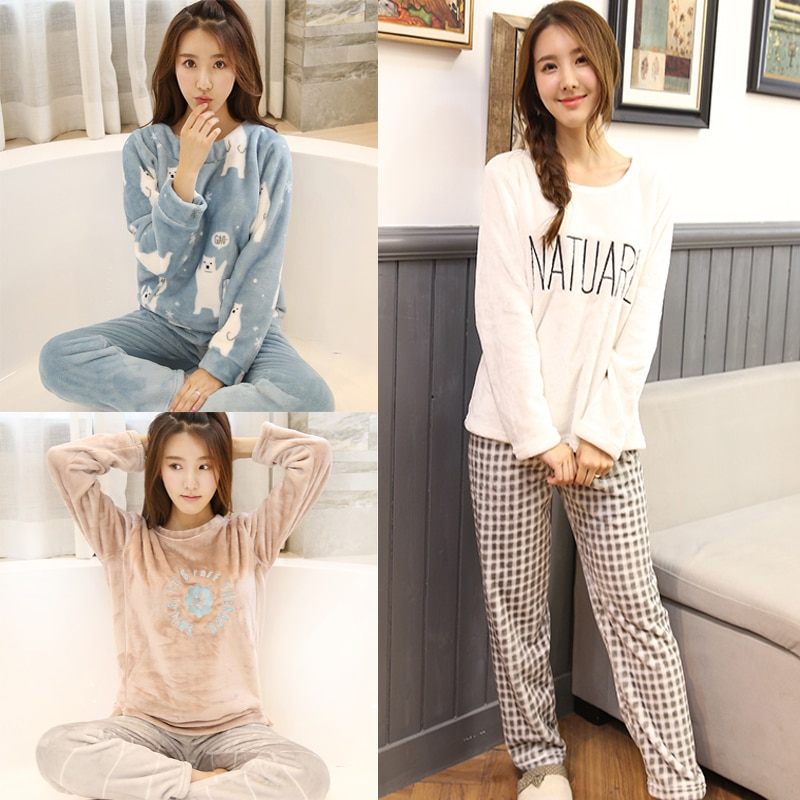 2PCS/Lot Autumn Winter Thick Women Pyjamas Sets Sleepwear Suit pajamas Flannel Warm Cartoon Animal Cute Pijama Bear Sleepwear