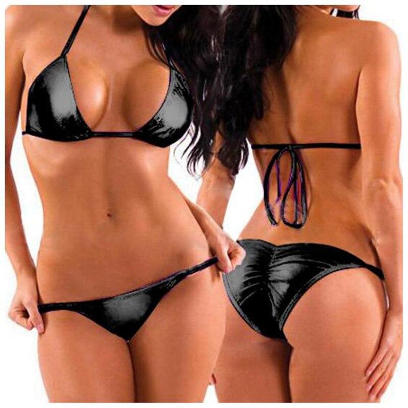 Seksowne kobiety dwuczęściowe zestawy bielizny Bikini Mini trójkąt stringi + topy biustonoszowe, zabawny gładki lakier patentowy zmarszczek strój kąpielowy, sznurowanie dostosować