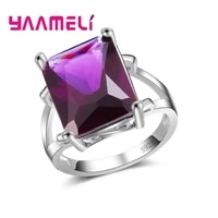 classic simple design women finger ring top quality 925 sterling silver accessories dark purple cubic zirconia stone